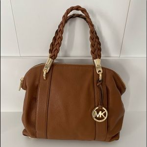 Michael Kors Naomi Large Leather Satchel Purse Tan